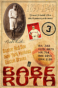 Red Sox Metal Prints - Babe Ruth Metal Print by Andrew Fare