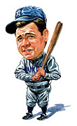 Exaggerart Painting Metal Prints - Babe Ruth Metal Print by Art