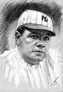 Athletes Drawings Framed Prints - Babe Ruth Framed Print by Viola El