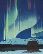 Canadian Winter Paintings - Babine Mountains Aurora by Ted Widen