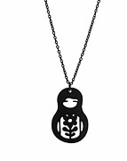 Perspex Necklace Jewelry - Babushka Pendant Necklace by Rony Bank
