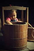 Basket Photo Originals - Baby and Basket by Mohd Shukur Jahar