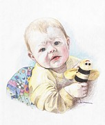Bee Drawings - Baby and Bee by Kathy Weidner