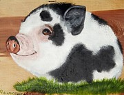Piglet Paintings - Baby Bacon by Debbie LaFrance