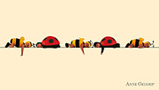 Bees Posters - Baby Bees and Lady Bugs Poster by Anne Geddes