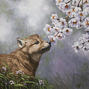Wolf Paintings - Baby Blossoms by Crista Forest
