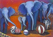 Jane Wilcoxson Art Painting Prints - Baby Blue Elephants Can Only be Found in the Circus Print by Jane Wilcoxson