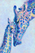 Mother And Baby Framed Prints - Baby Blue  Giraffes Framed Print by Jane Schnetlage
