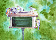 Eastern Bluebird Prints - Baby Blues - Eastern Bluebird Family Print by Kathryn Duncan