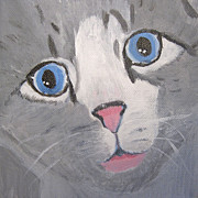 Gray Cat Paintings - Baby Blues by Lou Belcher