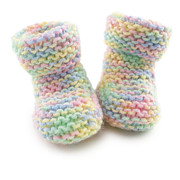 Hand-knitted Photos - Baby Booties in Multi Coloured Yard by Colin and Linda McKie
