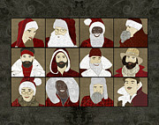 Father Christmas Prints - Baby Daddy Santa Horizontal Print by Janet Carlson