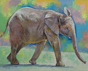 Shower Posters - Baby Elephant Poster by Michael Creese
