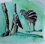 Emu Paintings - Baby Emu - Mama Feet by Jean Kieffer