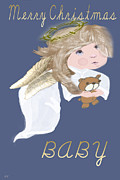 Gold Angel Card Posters - Baby First Xmas Poster by Debra     Vatalaro