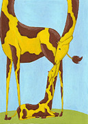 Kids Room Art Painting Metal Prints - Baby Giraffe Nursery Art Metal Print by Christy Beckwith