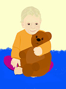 Pharris Art - Baby Holding Teddy Bear