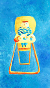 Highchair Posters - Baby in a High Chair Poster by Julie Nicholls