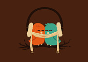 Cute Bird Digital Art - Baby it is cold outside by Budi Satria Kwan