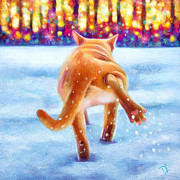 Cat Paw Posters - Baby Its Cold Outside Poster by Denise Laurent