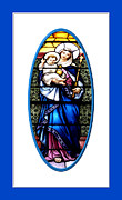 Queen Of Heaven Posters - Baby Jesus and The Queen of Heaven Stained Glass Window Poster by Rose Santuci-Sofranko