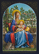 Virgin Mary Prints - Baby Jesus in the Garden Print by Lynn Bywaters