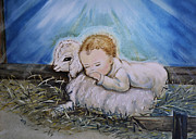 Manger Posters - Baby Jesus Little Lamb Poster by Nava Jo Thompson
