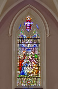 Baby Jesus Photo Prints - Baby Jesus Stained Glass Window Print by Susan Candelario