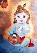 Angela Pari Dominic Chumroo Posters - Baby Krishna Poster by Angela Pari  Dominic Chumroo
