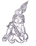 Thief Drawings - Baby Krishna by Melissa Vijay Bharwani