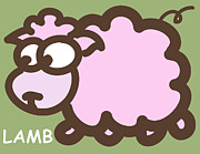 Nursery Art Metal Prints - Baby Lamb Nursery Art Metal Print by Nursery Art