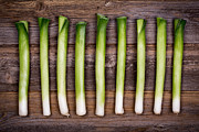 Rustic Photo Prints - Baby leeks vintage Print by Jane Rix