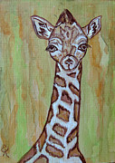 Ella Paintings - Baby Longneck Giraffe by Ella Kaye