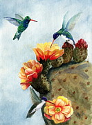 Floral Hummingbird Posters - Baby Makes Three Poster by Marilyn Smith