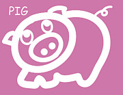 Nursery Art Metal Prints - Baby pig art for the nursery Metal Print by Nursery Art