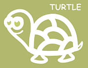 Reptiles Digital Art Metal Prints - Baby Room Art - Turtle Metal Print by Nursery Art