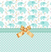 Shower Posters - Baby Safari Green Elephants Poster by Debra  Miller