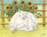 Sleeping Baby Animals Posters - Baby Sanaan Goats Sleeping Sunflowers Animal Art Poster by Cathy Peek