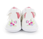 Embroidered Prints - Baby shoes Print by Elena Elisseeva
