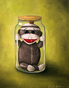 Humor Painting Prints - Baby Sock Monkey  Preserving Childhood 5 Print by Leah Saulnier The Painting Maniac