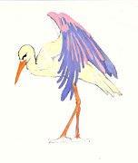 New Baby Art Drawings - Baby Stork by Rene Holovsky