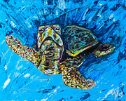 Save The Sea Turtle Paintings - Baby Turtle by Lovejoy Creations