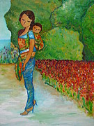Attachment Paintings - Baby Wearing in the Green by Gioia Albano