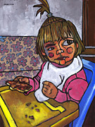 Toddler Painting Metal Prints - Baby with Pizza Metal Print by Douglas Simonson