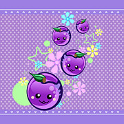 Plum Posters - Babyplums Poster by Mellisa Ward