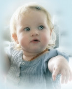 Baby Girl Posters - Babys got Blue Eyes Poster by Karen Lewis