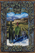 Wine-glass Framed Prints - Bacchus Vineyard Framed Print by Ricardo Chavez-Mendez