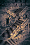 Stone Steps Posters - Back Entrance Redux Poster by Joan Carroll