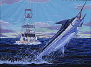 Black Marlin Painting Framed Prints - Back Her Down Off00126 Framed Print by Carey Chen
