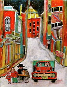 Canadiens Paintings - Back Lane Cultures by Michael Litvack